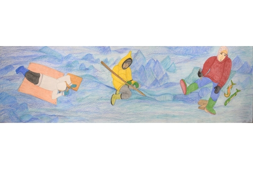 """Shuvinai Ashoona, Untitled, 2020 Graphite, colour pencil and ink on paper (FRAMED) 64 x 215,2 cm (25,2"""" x 84,7"""") $7100"""